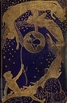 Decorative cover of Andrew Lang's 'The Violet Fairy Book' with illustrations by H.J. Ford. Published 1906 by Longman's, Green & Co. archive.org