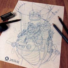 Steampunk Airship Sketch from @jamesngart #Steampunk #Airship #Sketch