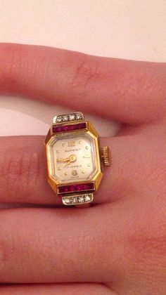 Vintage Yellow Gold Bucherer Watch Ring by HenrysJewelers Amazing Watches, Beautiful Watches, Cool Watches, Timex Watches, Seiko Watches, Antique Watches, Vintage Watches, Ring Watch, Swiss Army Watches
