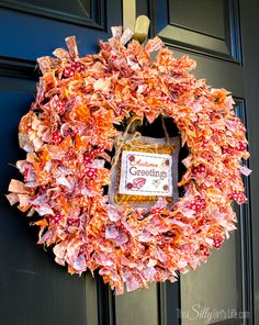 Fabric Scrap Fall Wreath - This Silly Girl's Kitchen