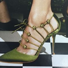 cool Green Lace-Up Sexy Stiletto Heels