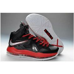 Nike Basketball Shoes 2013 Lebron 10 Elite Pressure Black andChrome-University Red and-Cool Grey 579827 282 Half Price Lebron X