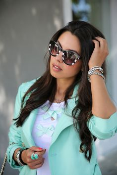 Silver Arm Party + Zara Black & White Sunglasses LOVE the whole outfit!