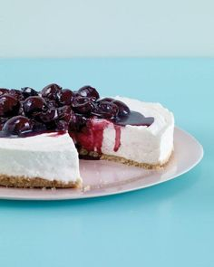 No-Bake Cherry Cheesecake ~~ Three cheeses in the filling make this easy cheesecake ultrarich and super creamy. Balsamic vinegar lends a tangy depth to the cherry topping. No Bake Desserts, Just Desserts, Delicious Desserts, Dessert Recipes, Yummy Food, Potluck Desserts, Dessert Healthy, Breakfast Healthy, Health Breakfast