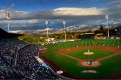 Salt Lake Bees of the Class AAA Pacific Coast League Opening Day at Smith's Ballpark on April 2015 Major League Baseball Teams, Baseball Field, Lush Green, Green Grass, Major Events, Opening Day, Pacific Coast, Sacramento, Will Smith
