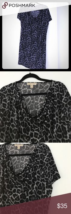 MK slinky t-shirt dress Grey/black cheetah print tee shirt dress with short sleeves. Can be worn as a blousey tunic, short dress, beach attire, belted, with leggings, and on and on. Cowl Neck top. Michael Kors Dresses