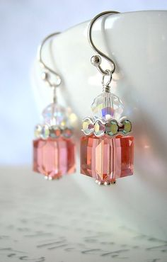Rose Peach Pink Swarovski Crystal Cube and Clear by BeadedDetails, $30.00