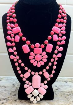Hand Painted Neon Ombre Rhinestone Necklace - Pink