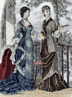 28-10-11  Late 1870's fashion plate The one on the right would be good for summer, I think, if the patterned fabric were seersucker and the solid perhaps a linen or broadcloth...?