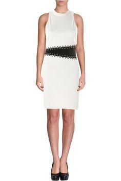 A.B.S. BY ALLEN SCHWARTZ Black And White Stretch Knit Lattice Eyelet Dress. Taille 42. REF 3456/42.