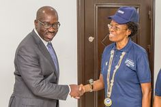 Mr Obaseki in a hand shake with Dr Udom      Governor of Edo State,   Godwin Obaseki has said that a female law graduate at the  Intern...