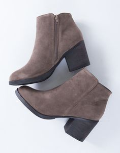 The Casual Suede Heel Booties are the type of boots you can wear on a daily basis. You will love the simple, yet classic style. Comes in a taupe and black color of your choice. Made from a smooth faux