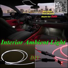For KIA Elan Car Interior Ambient Light Panel illumination For Car Inside Tuning Cool Strip Refit Light Optic Fiber Band
