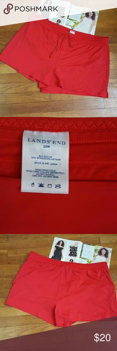 Lands' End Red Plus Size Swim Shorts In nice condition and comes from a smoke free home.   Waist:20 1/2 Inches laying flat across  Length: 14 inches from top to bottom  Inseam: 3 inches from crotch to bottom  Front Rise: 13 inches from top to crotch   Bin 1 #22 Lands' End Swim