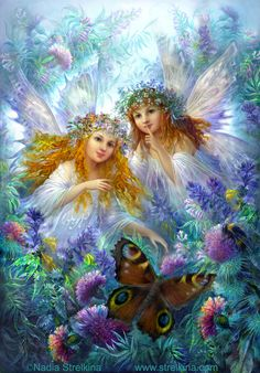 Fairy Sisters by Josephine Wall Fairy Myth Mythical Mystical Legend Elf Faerie Fae Wings Fantasy Elves Faries Sprite Nymph Pixie Faeries Hadas Enchantment Forest Whimsical Whimsy Mischievous Fantasy Kunst, Fantasy Art, Fantasy Fairies, Josephine Wall, Creation Photo, Fairy Pictures, Love Fairy, Beautiful Fairies, Flower Fairies