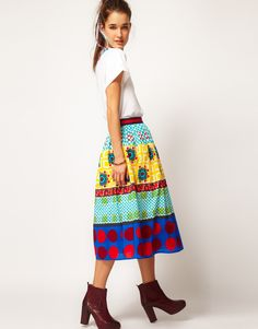 ASOS Oversized Full Skirt in Mix Print