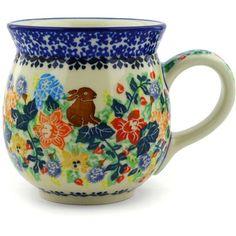Polish Pottery 16 oz Bubble Mug | Boleslawiec Stoneware | Polmedia H5812E