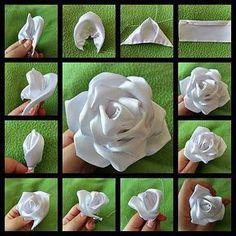 How to make embroidery ribbon flowers for beginner 10 – www. Roses En Ruban Satin, Satin Ribbon Flowers, Cloth Flowers, Ribbon Art, Diy Ribbon, Ribbon Crafts, Flower Crafts, Art Flowers, Diy Crafts