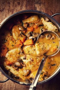 Chicken with Pumpkin and Mushrooms. Making this tomorrow with acorn squash as a…