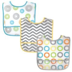 Luvable Friends 3 Piece Waterproof Bibs with Crumb Catcher, Yellow Pinwheels