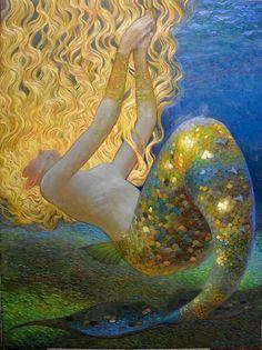 Mermaid by Victor Nizovtsev I mistook this for a Gustav Klimt! Gustav Klimt, Art And Illustration, Mermaid Illustration, Victor Nizovtsev, Mermaids And Mermen, Mermaid Art, Mermaid Paintings, Mermaid Images, Mermaid Nails