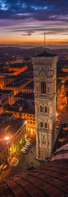 Giotto's bell tower is one of the four main components of the Piazza del Duomo in Florence.