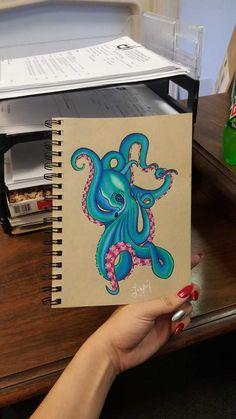 Octopus Drawing, Octopus Art, Octopus Sketch, Octopus Tattoo Sleeve, Octopus Tattoos, Octopus Colors, Beatles Tattoos, Art Sketches, Art Drawings