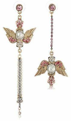 """Betsey Johnson """"Iconic Love Bird"""" Bird Mismatch Linear Drop Earrings Betsey Johnson, http://www.amazon.com/dp/B00925SQ00/ref=cm_sw_r_pi_dp_AIpsrb1082P6T"""