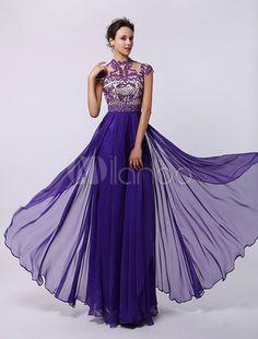 Royal Purple Tiered Chiffon Dress with Tonal Beading and Keyhole Back