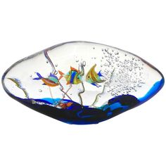 Alberto Dona 1980s Modern Blue Yellow Orange Green Murano Glass Oval Aquarium | From a unique collection of antique and modern sculptures at https://www.1stdibs.com/furniture/decorative-objects/sculptures/