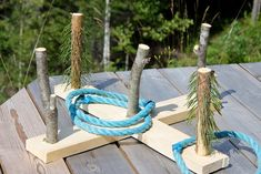 Ringspil i træ og naturmaterialer // Ring game in wood and natural materials Recycling For Kids, Diy Rings, Outdoor Play, Diy Toys, Garden Art, Woodworking Projects, Diy And Crafts, Creative, Inspiration