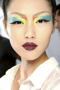 Colour Blocking Graphic Shapes by Pat McGrath. // Liu Wen