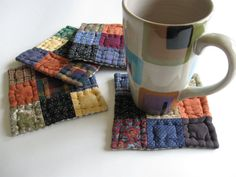 Quilted Coasters Fabric Coasters Rustic Decor Primitives by dlf724