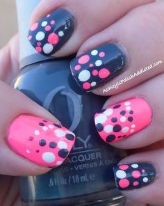 Black, White, Pink polka dot on Pink/Black base. I like this idea for toes. Pink big toe with the other toes in black maybe?