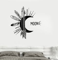 Vinyl Wall Decal Moon Feather Arrow Bedroom Decor Talisman Stickers (ig3251)
