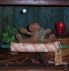 Primitive Gingerbread Candy Cane Doll Pattern 360 | eBay
