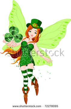 Illustration of beautiful St. Patrick?s Day fairy holding clover