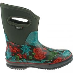 LADIES BOGS WINTER BLOOMS MID CHOCOLATE INSULATED WARM WELLINGTON BOOTS 71533 - Bogs - Brands