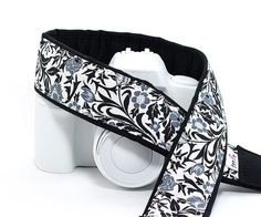dSLR Camera Strap Floral Black White Grey SLR 26 by ten8e on Etsy