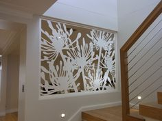 agapanthus-lasercut-screen - great idea if your front door looks up your stairs Laser Cut Screens, Laser Cut Panels, Laser Cut Metal, Laser Cutting, Screen Design, Wall Design, House Design, Interior And Exterior, Interior Design