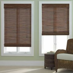 jcp home™ Bamboo Woven Wood Roman Shade  But this dark color looks nice too. And they're affordable!