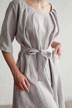 Linen dress with cinch belt for those who like style and comfort. Light and soft linen summer dress. Handmade linen clothing for women. Dress For Summer, Summer Dresses, Linen Dresses, Dresses With Sleeves, Stylish Outfits, Cool Outfits, Natural Fiber Clothing, Style Casual, Stitch Fix