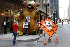 Chicago Teachers Union members and teachers gather in front of CPS Headquarters in Chicago on Monday.