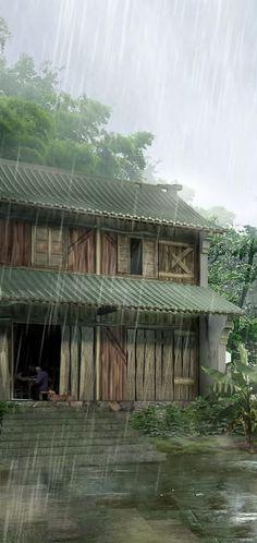 Barn, Pouring Down Rain