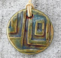 Olive and Blue Squares Ceramic Pendant Necklace Casual by BluMudd, $7.00