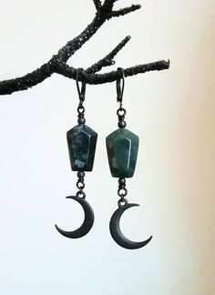 SHADOW of the CRESCENT MOON Gothic Witch Moss Agate Coffin and Crescent Moon Earrings by BloodFlowersJewelry on Etsy
