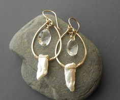Gold Pearl and Crystal Earrings, Gold Filled Wire Wrapped Gemstone Earrings