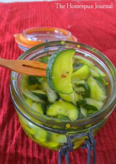 Refrigerator Zucchini Pickles | The Homespun Journal