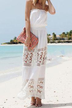 Summer Fashion 2015. Strapless Openwork Floral Pattern Maxi Dress. ::M::