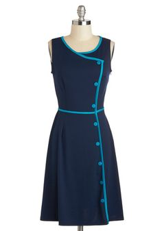 Shop 1940s Style Shirt Dress - Chord-ially Yours Dress in Blue from ModCloth $89.99